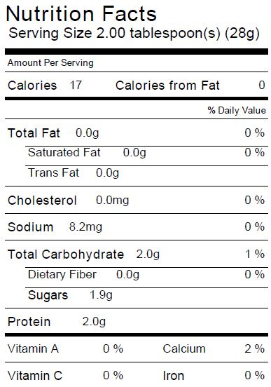 Fat Free Basil & Red Wine Vinaigrette Nutrition Facts