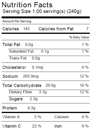 Potato and Green Bean Casserole Nutrition Facts