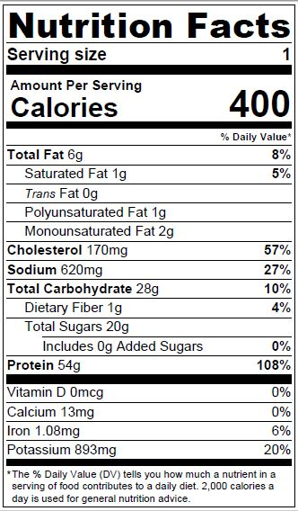 Sweet and Spicy Chicken Nutrition Facts